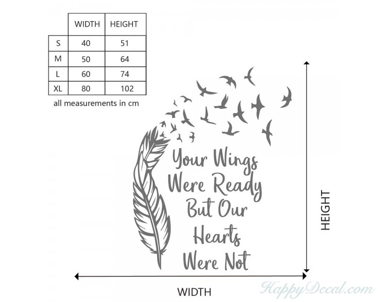 Your Wings Were Ready But Our Hearts Were Not Quote Decal