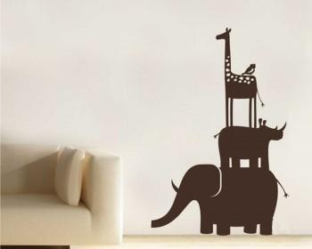 Giraffe Rhinoceros Elephant Animal Friends Nursery Decal Animal Stickers