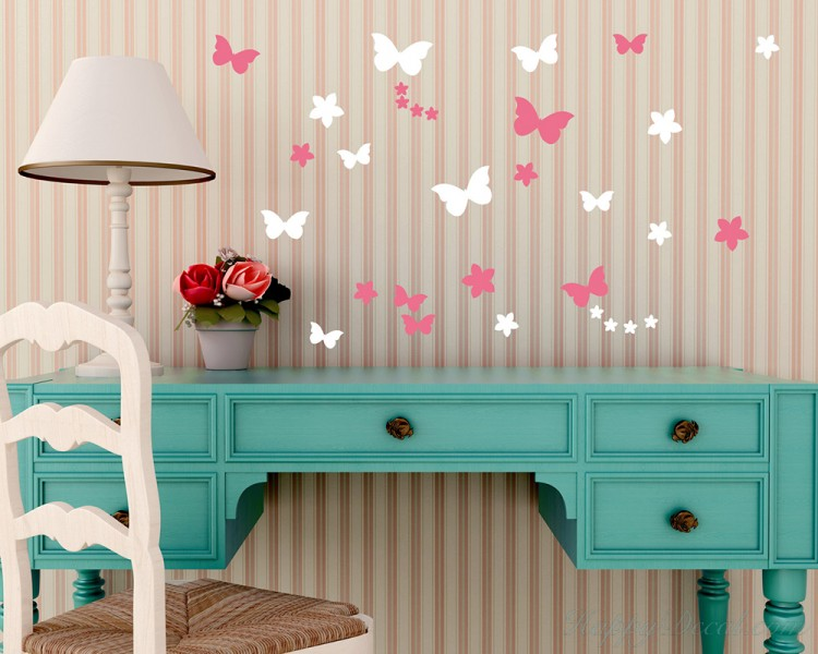 Flowers Butterflies Decal