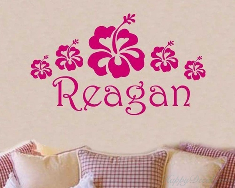 Flowers and Customized Name Decal