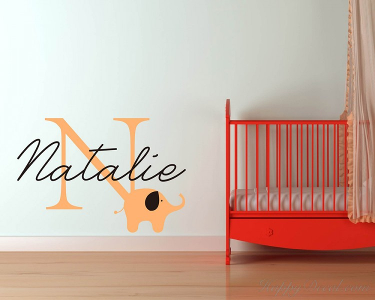 Elephant with Customized Name & Monogram Wall Decal For Nursery