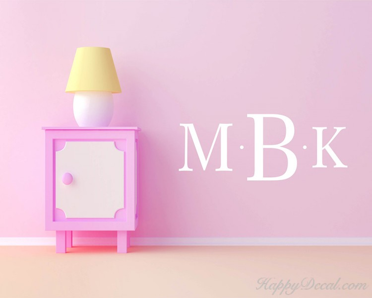 Customized Initials Name Monogram Vinyl Wall Name Decals