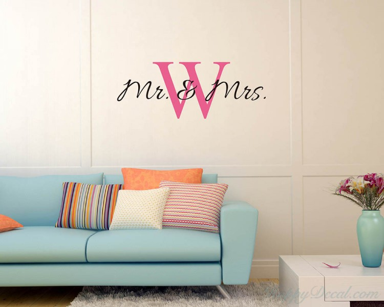 Mr. & Mrs. Customized Name Initial Letter Vinyl Decals