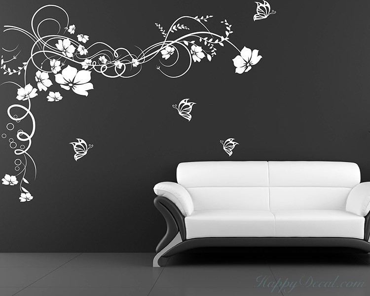 Floral Vines Butterflies Decal