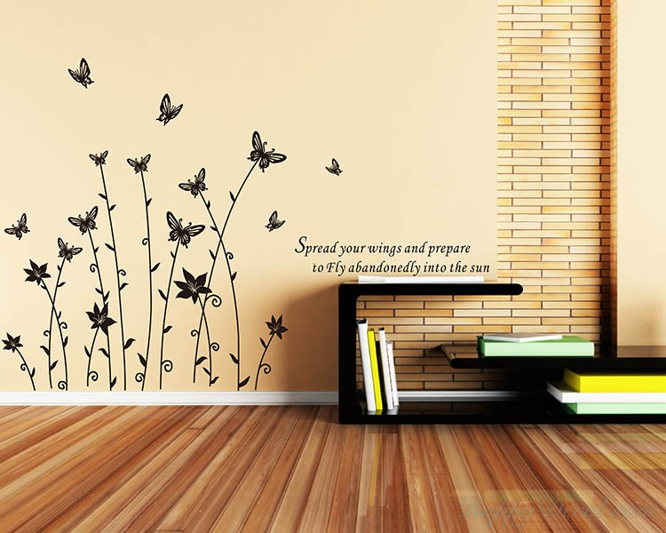 Butterfly Flowers Decal
