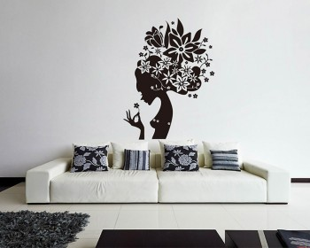 Mysterious Floral Fairy Vinyl Decals Modern Wall Art & Tulip Vinyl Art Decals Modern Wall Art