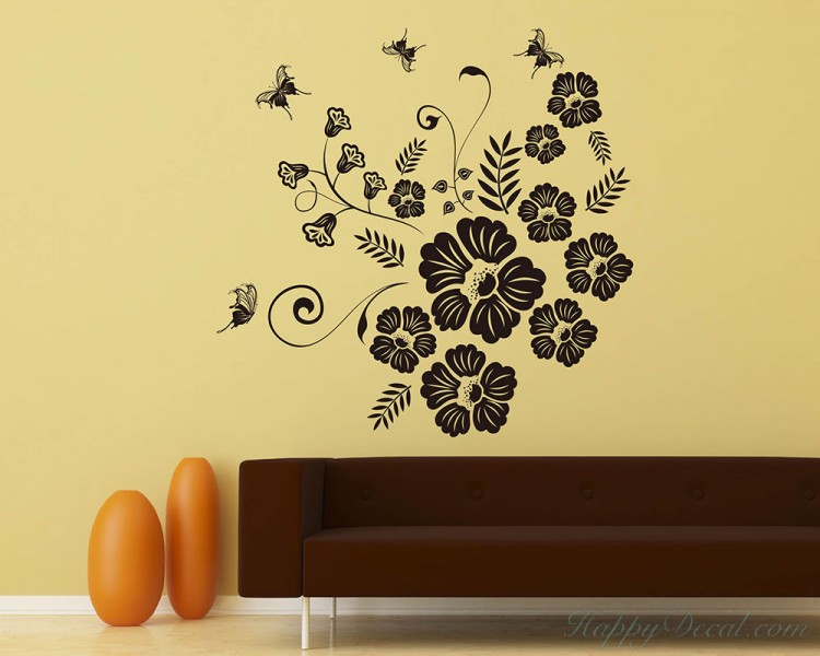 Large Floral Vines Flowers Vinyl Decals Modern Wall Art