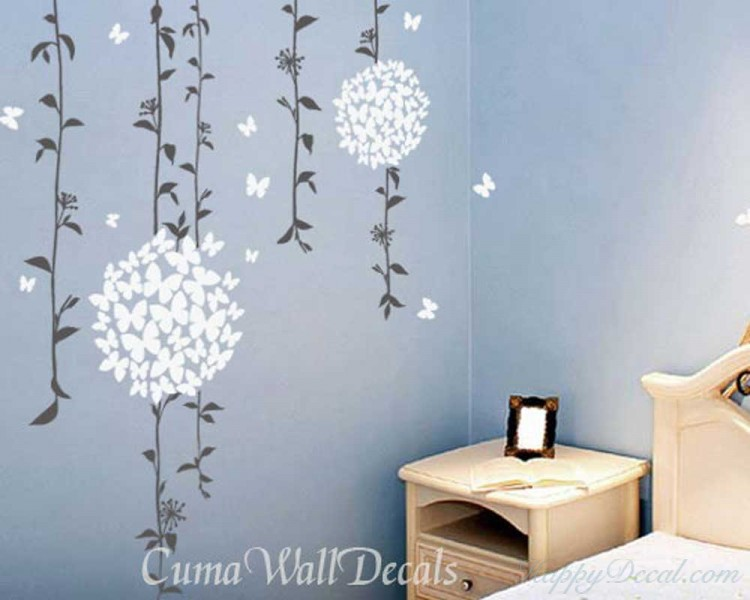Beautiful Vines with Butterflies Flowers Decal. Beautiful Vines with Butterflies Flowers Vinyl Wall Decals & Beautiful Vines with Butterflies Flowers Vinyl Wall Decals