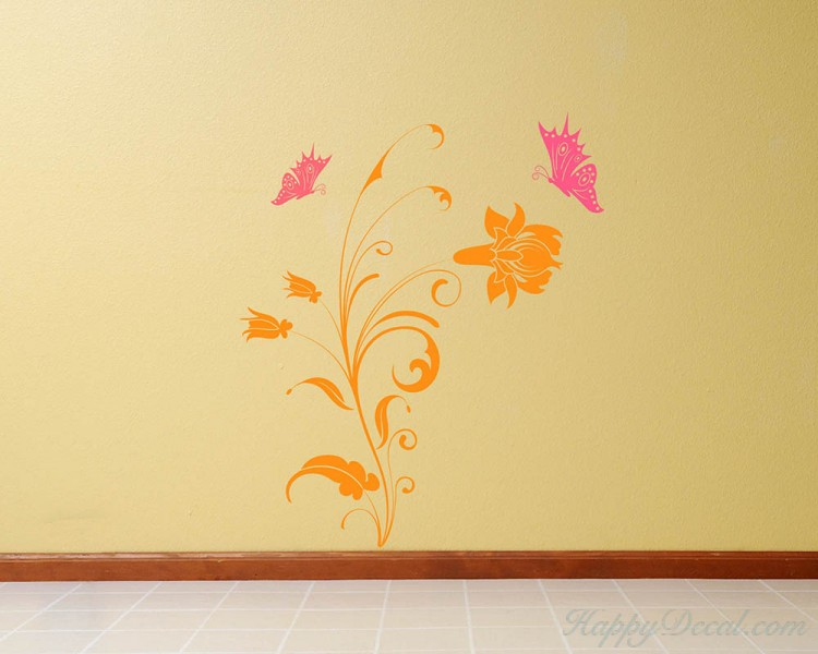 Beautiful Flowers with Butterflies Decal