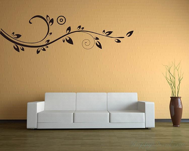 Beautiful Floral Vines Modern Vinyl Wall Art Decal