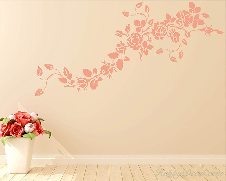 Rose Flower Vines Decal. Rose Flower Vines Vinyl Decals Modern Wall Art & Rose Flower Vines Vinyl Decals Modern Wall Art