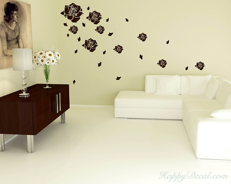 Roses Flying Vinyl Decals Modern Wall Art Stickers