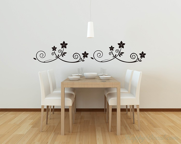 A Set of 4 Flower Borders Decal
