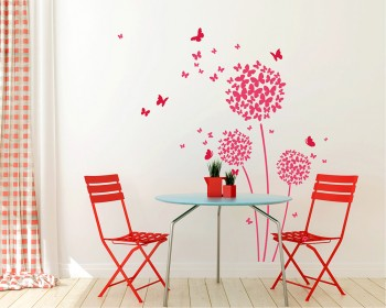 Beautiful Butterfly Dandelion Flowers Vinyl Wall Decals