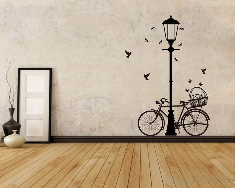 Street L& and Bicycle  sc 1 st  Wall Decals Premium Vinyl Wall Art Stickers for Home u0026 Business & Street Lamp Bicycle Vinyl Decals Modern Wall Art Sticker