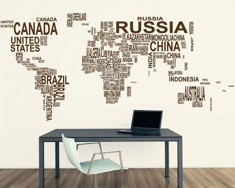 Superior World Map Country Names Decal