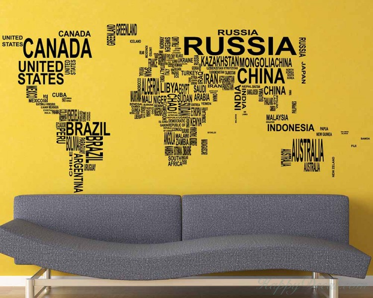 World map country names vinyl decals modern wall stickers world map country names decal gumiabroncs Image collections