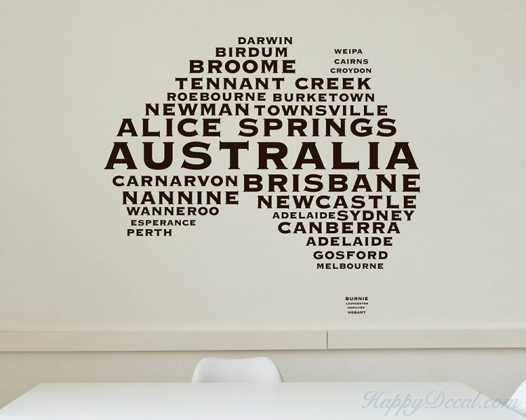 Australian Map City Names Decal