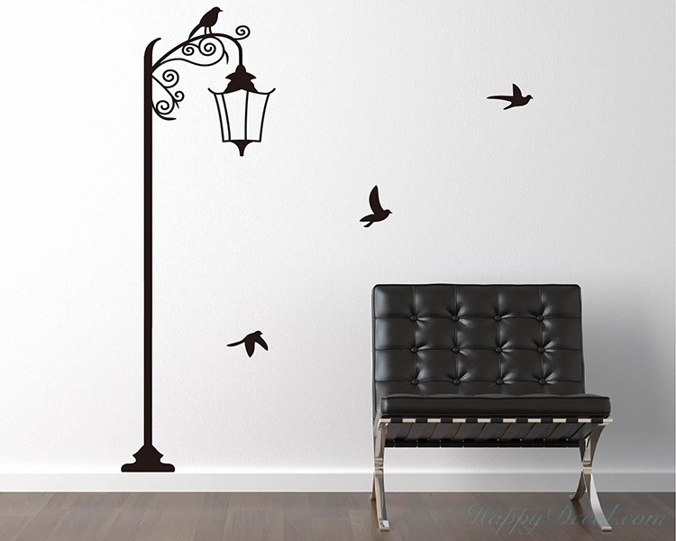 Street Lamp with Birds Decal