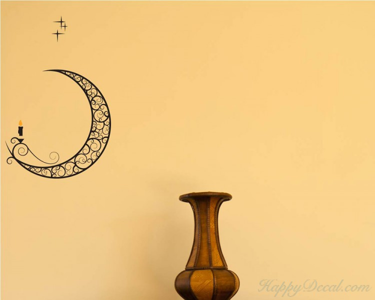 Moon with Candle Vinyl Decal