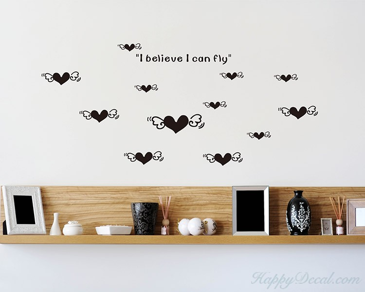 Flying Hearts with Quotes Vinyl Decal Children Sticker