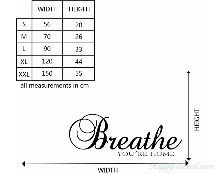 breathe you re home quotes wall decal family vinyl art stickers