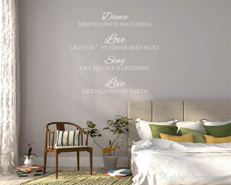 Dance, Love, Sing, Live Quotes Wall Decal