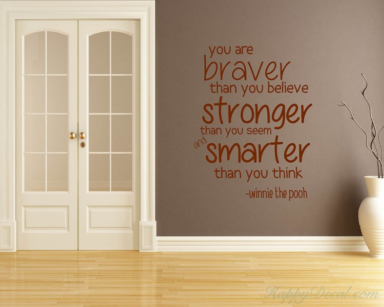 You Are Braver Quotes Wall Decal Motivational Vinyl Art Stickers