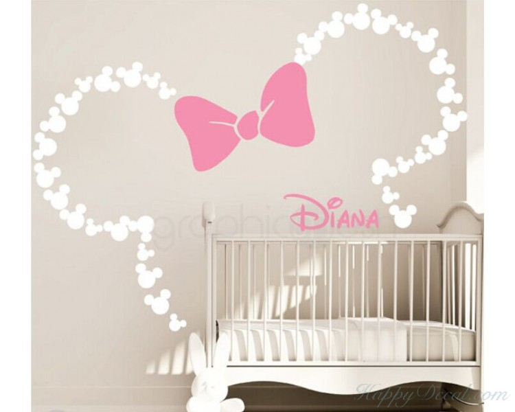 Cute Mouse with Bowknot Name Decal