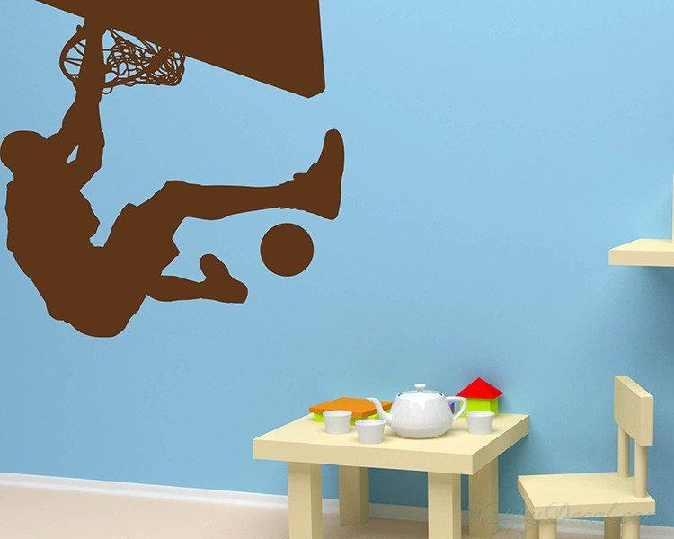 Dunking Boy Vinyl Decals Silhouette Modern Wall Art Sticker