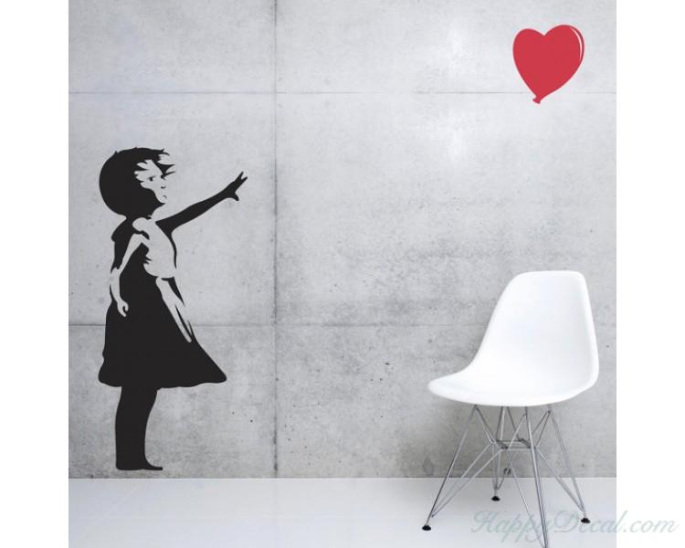 Banksy Girl Balloon Vinyl Decals Silhouette Wall Art Sticker