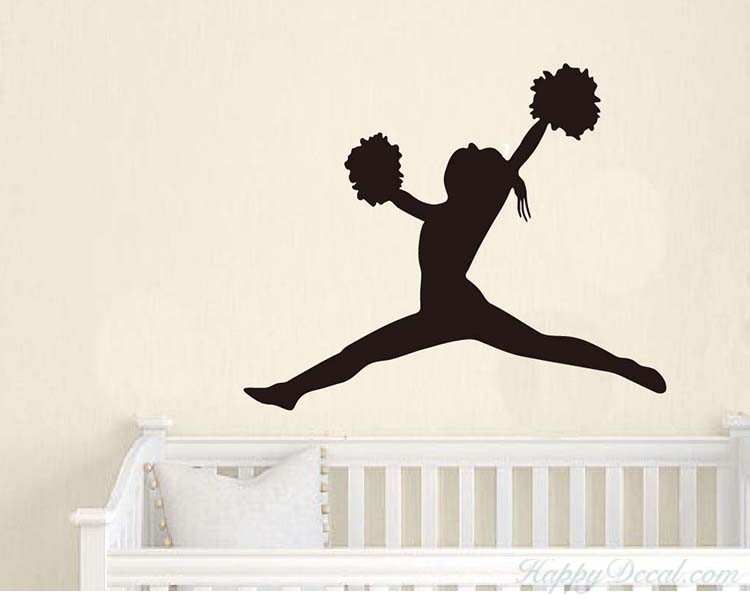 Cheering Girl Vinyl Decals Silhouette Modern Wall Art Sticker