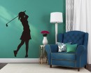 Girl Playing Golf Silhouette Modern Wall Art Sticker