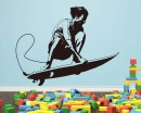 Surfing Boy Vinyl Decals Silhouette Modern Wall Art Sticker
