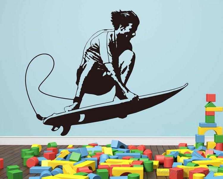 Surfing Boy Vinyl Decals Silhouette Modern Wall Art Sticker