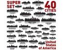 City of USA Vinyl Decals Silhouette Modern Wall Art Sticker