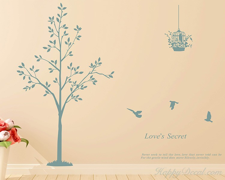 Tree, Birds with Quotes Wall Decal Vinyl Tree Art Stickers