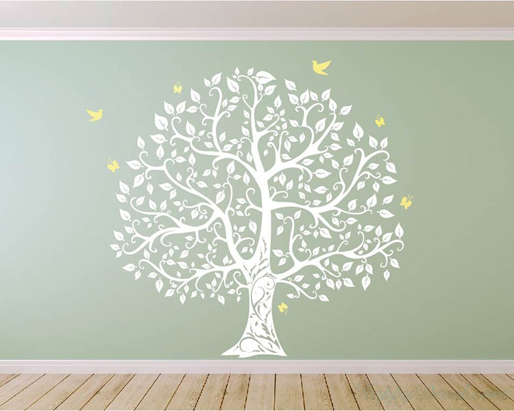 Large Tree with Birds and Butterflies Wall Decal