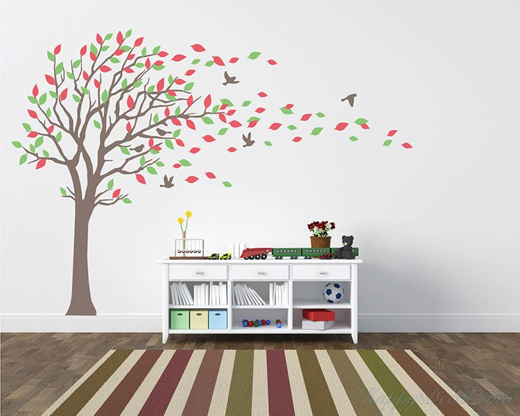 Delightful Large Tree Wall Decal With Colorful Leaves Blowing In The Wind