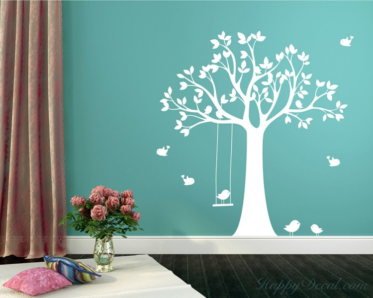 Large Tree Wall Decal with Swinging Birds Vinyl Tree Art Stickers