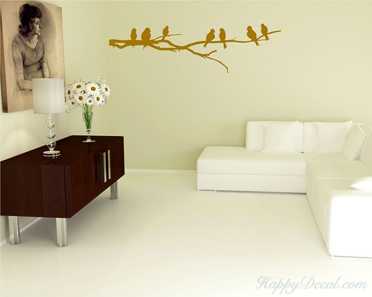 Branch Wall Decal with Birds Vinyl Tree Art Stickers