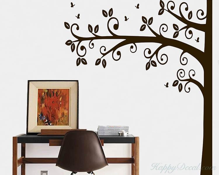 Vinyl Tree Vinyl Graphic Decal Half Tree with Birds item 30020