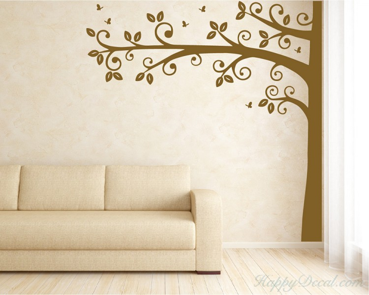 Superior Tall Half Tree With Leaves And Butterflies Wall Decal