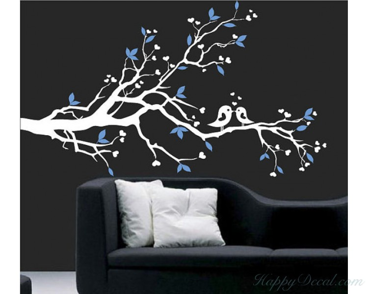 Plum Blossom Branch Wall Decal with Loving Birds