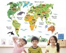 Woodland Animals World Map Sticker