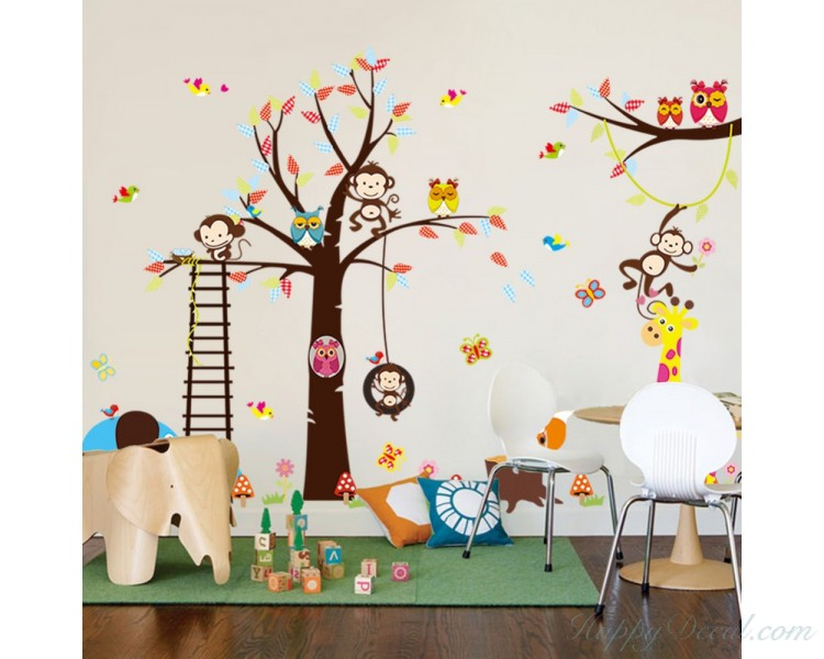 Tree Wall Sticker Children Bedroom Stickers with Squirrel Fox Mushroom Owls Monkey Birds Giraffe Elephant Zoo Cute Wall Decals For Baby Nursery Home Decor Wall Art