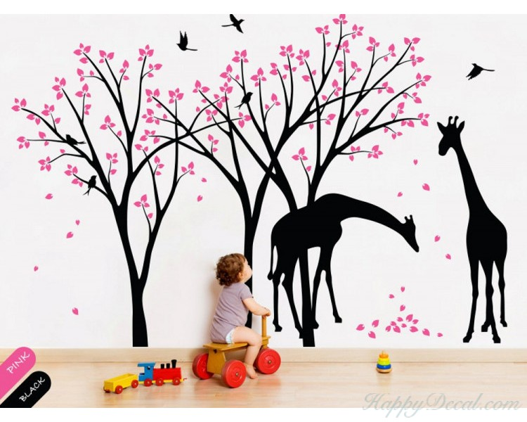 Cherry Blossom Tree with Giraffe