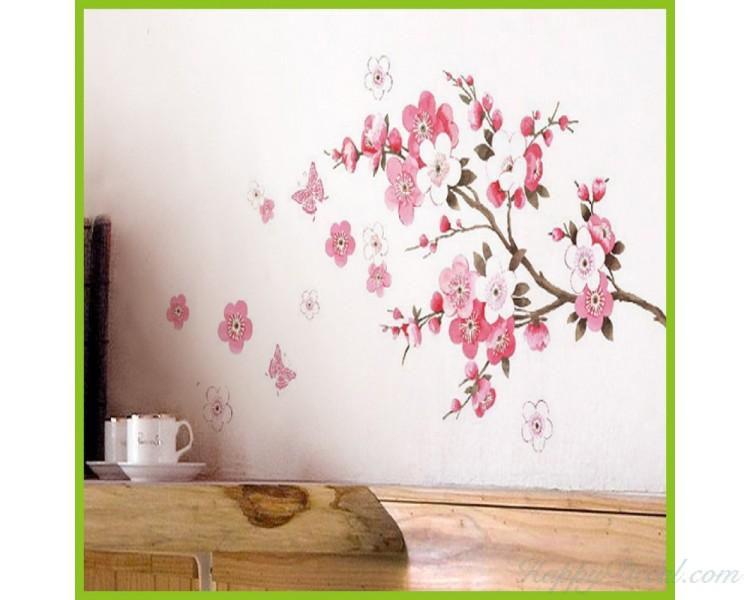 sakura flower wall sticker beautiful flower wall decals for living