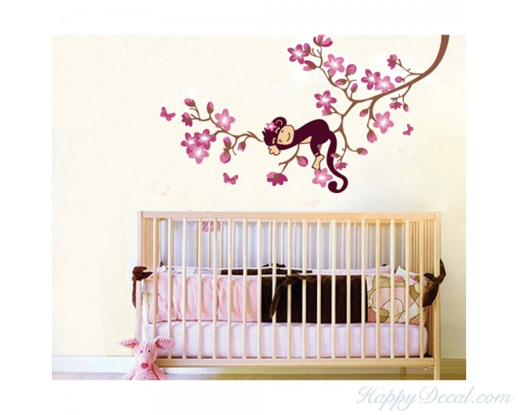 Monkey Sleeping on the Sakura Tree Wall Decal Flower Wall Stickers For Children Room Nursery Room
