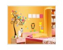 Cartoon Scroll Tree Wall Stickers Animals giraffe lion friends Kindergarten Lovely Wall Decals For Bedroom Playroom